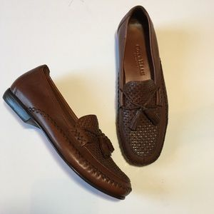 Cole Haan Woven Leather Tassel Loafers Sz7B